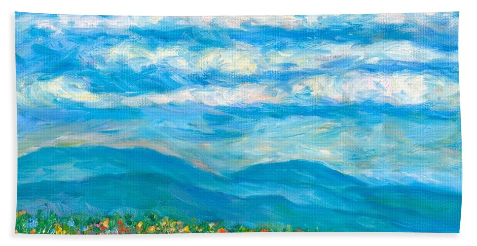 Blue Ridge Paintings Bath Towel featuring the painting Flower Path To The Blue Ridge by Kendall Kessler
