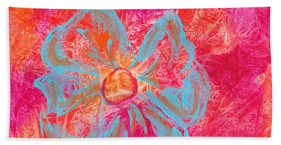 Orange Bath Sheet featuring the painting Flower Power by Paulette B Wright