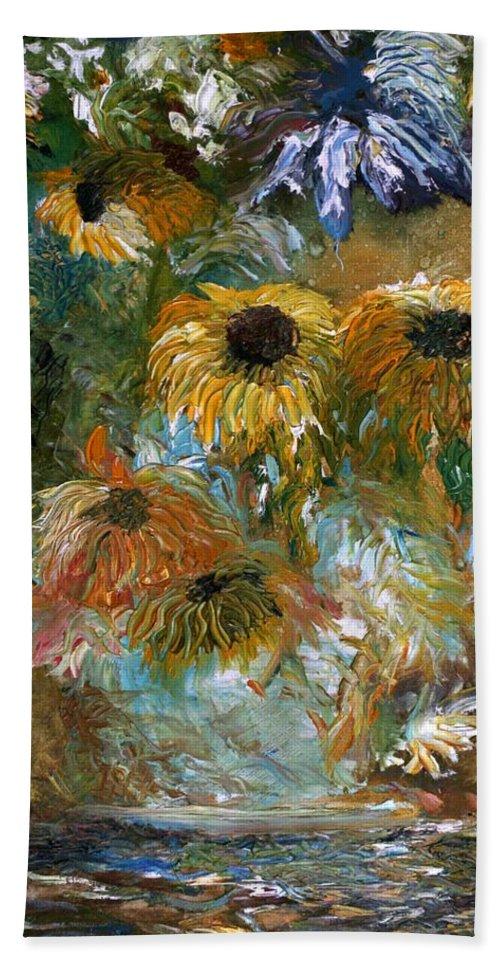 Flowers Bath Towel featuring the painting Flower Rain by Jack Diamond