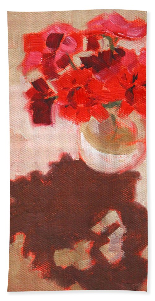Red Bath Towel featuring the painting Flower Shadows Still Life by Nancy Merkle