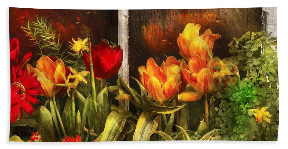 Savad Bath Towel featuring the photograph Flower - Tulip - Tulips In A Window by Mike Savad