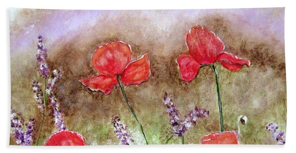 Flowers Hand Towel featuring the painting Flowering Field by Lisa Stanley