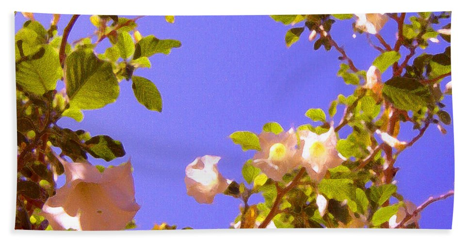 Landscapes Bath Towel featuring the painting Flowering Tree 2 by Amy Vangsgard