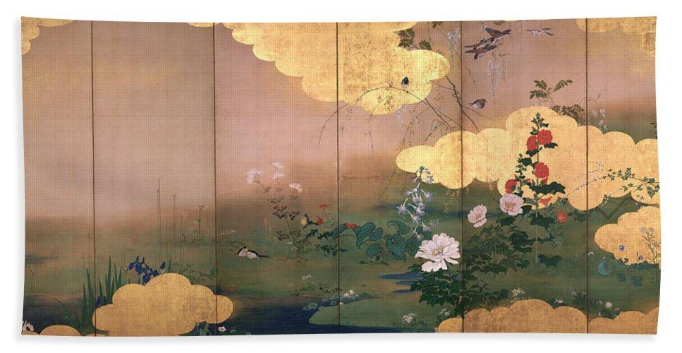 Shibata Zeshin Hand Towel featuring the painting Flowers And Birds Of The Four Seasons by Shibata Zeshin