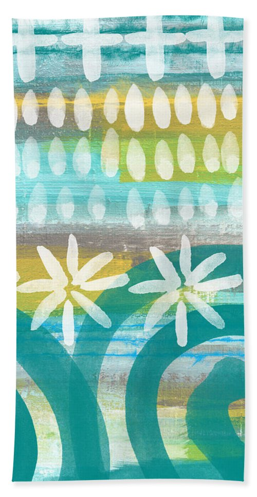 Blue And Yellow Painting Bath Towel featuring the painting Flowers and Waves- abstract pattern painting by Linda Woods