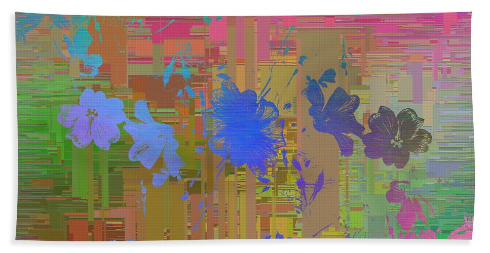 Abstract Hand Towel featuring the digital art Flowers Cubed 1 by Tim Allen