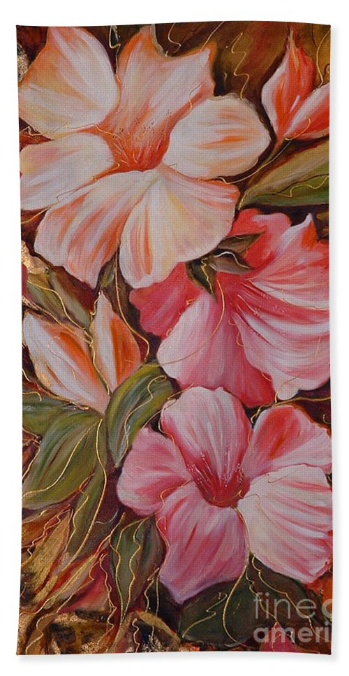 Abstract Hand Towel featuring the painting Flowers II by Silvana Abel