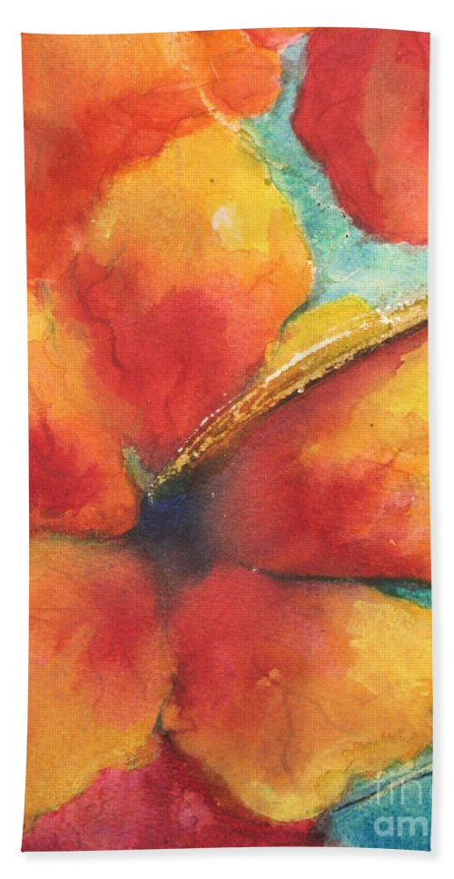 Fine Art Painting Hand Towel featuring the painting Flowers In Bloom by Chrisann Ellis