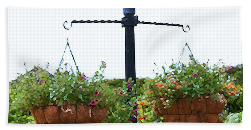Hanging Flower Bath Sheet featuring the painting Flowers In Garden 4 by Jeelan Clark