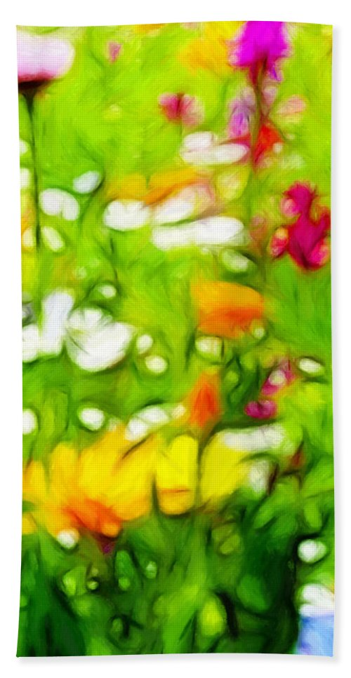 Flower Flowers Garden Summer Sun Sunlight Green Grass Color Colorful Expressionism Impressionism Hand Towel featuring the painting Flowers In The Garden by Steve K