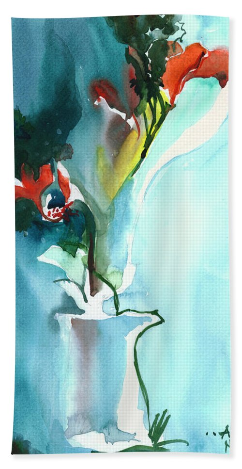 Nature Hand Towel featuring the painting Flowers in Vase by Anil Nene
