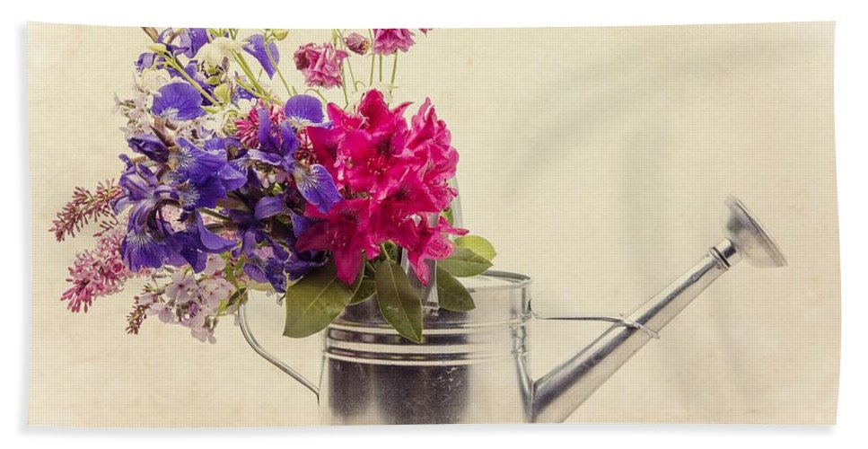 Can Hand Towel featuring the photograph Flowers In Watering Can by Edward Fielding
