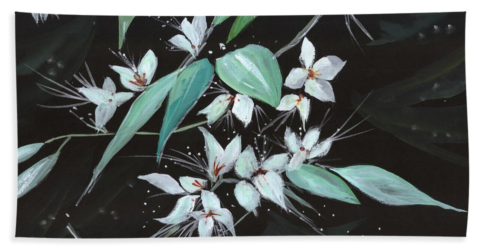 Nature Hand Towel featuring the painting Flowers n Petals by Anil Nene