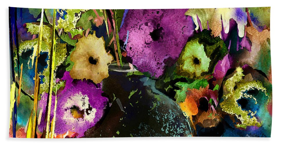 Flowers Hand Towel featuring the painting Flowers Night Party by Miki De Goodaboom