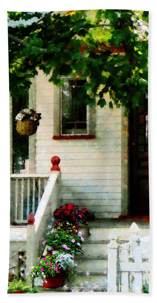 Flower Pots Bath Sheet featuring the photograph Flowers On Steps by Susan Savad