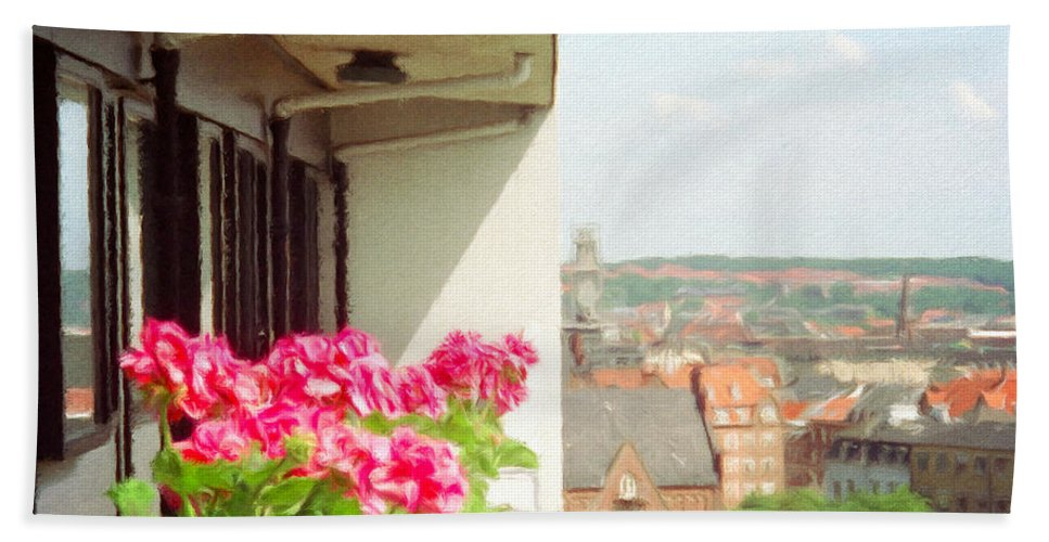 Aarhus Bath Sheet featuring the painting Flowers On The Balcony by Jeffrey Kolker