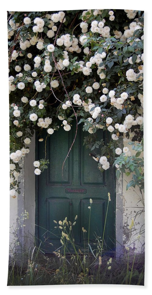 Door Hand Towel featuring the photograph Flowers On The Door by Gina Dsgn