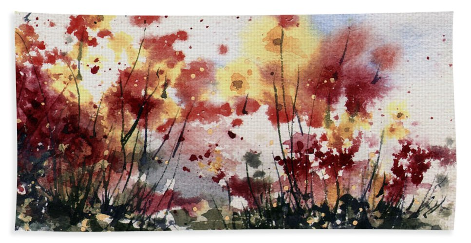 Floral Hand Towel featuring the painting Flowers by Sam Sidders