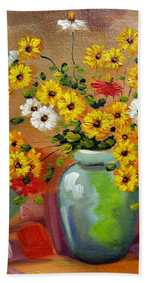 Flowers Art Still Life Oil Painting Print Canvas Hand Towel featuring the painting Flowers - Still Life by Daliana Pacuraru