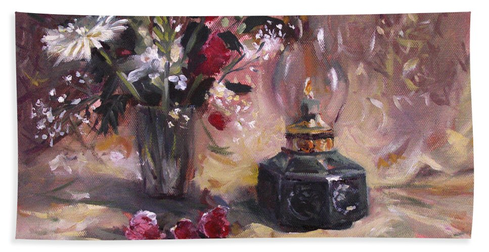 Flowers Bath Sheet featuring the painting Flowers With Lantern by Nancy Griswold
