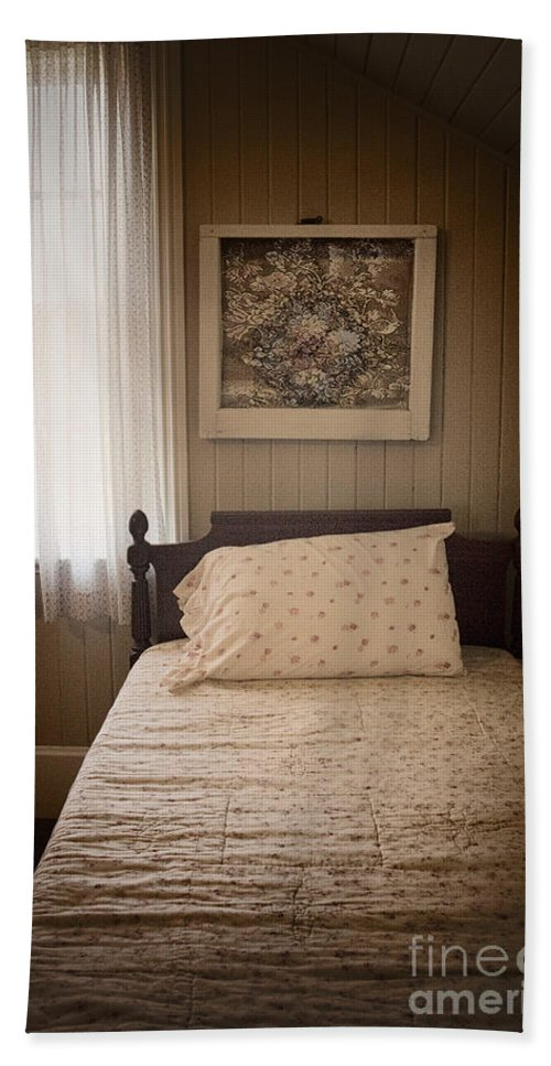 Bed; Bedroom; Interior; Inside; Indoors; Still Life; Bedspread; Quilt; Picture; Headboard; Decorate; Vintage; Antique; Floral Pattern; Pillow; Single; Window; Drapes; Curtain; Empty; Made; No One; Cute; Girl Bath Sheet featuring the photograph Flowery by Margie Hurwich