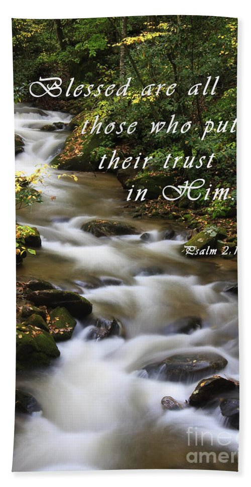 Creek Hand Towel featuring the photograph Flowing Creek With Scripture by Jill Lang