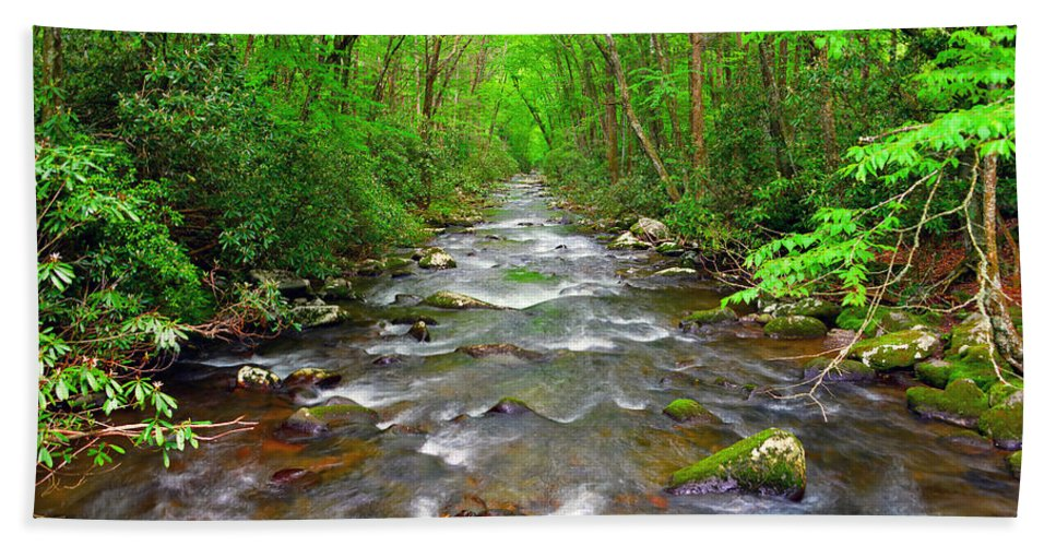 River Bath Sheet featuring the photograph Flowing by David Lee Thompson