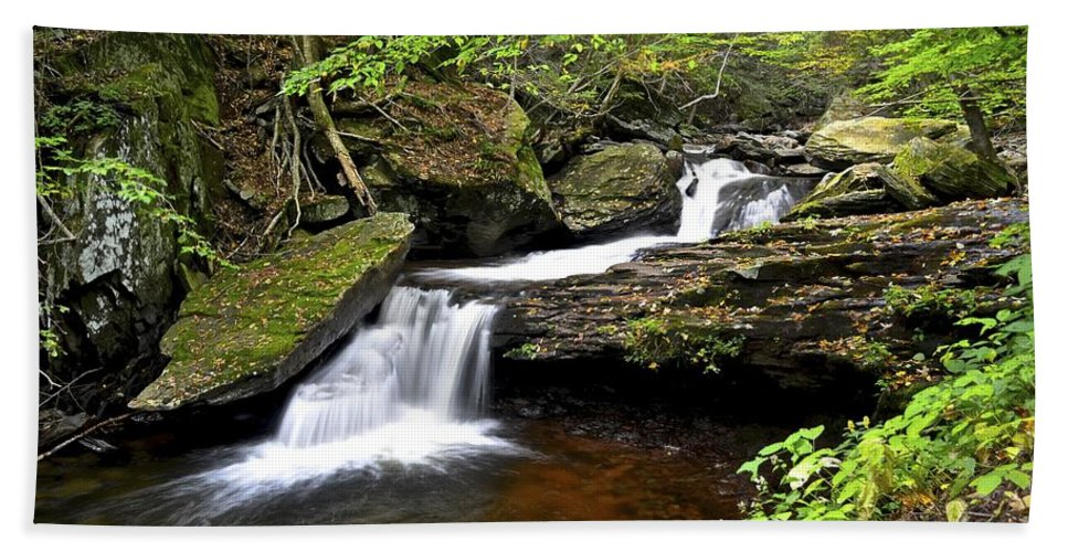 Waterfall Bath Sheet featuring the photograph Flowing Falls by Frozen in Time Fine Art Photography