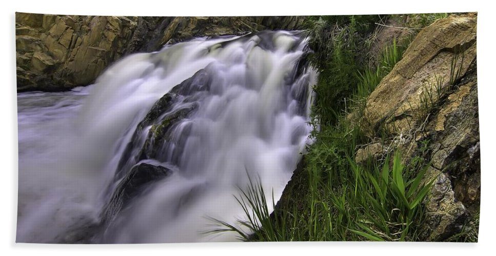 Waterfalls Hand Towel featuring the photograph Flowing Glow by Bill Sherrell