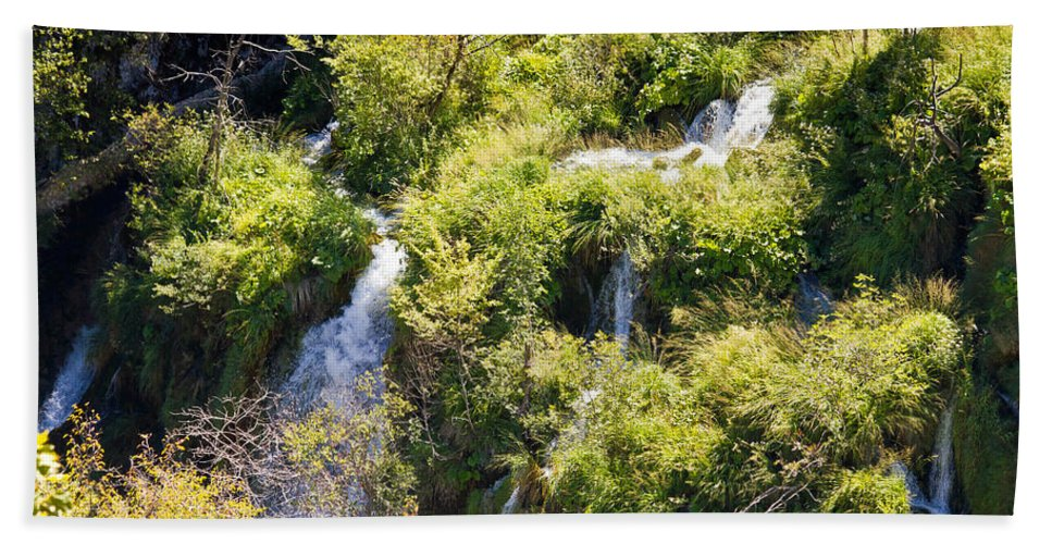 Croatia Hand Towel featuring the photograph Flowing Water On Falling Lakes Of Plitvice by Brch Photography
