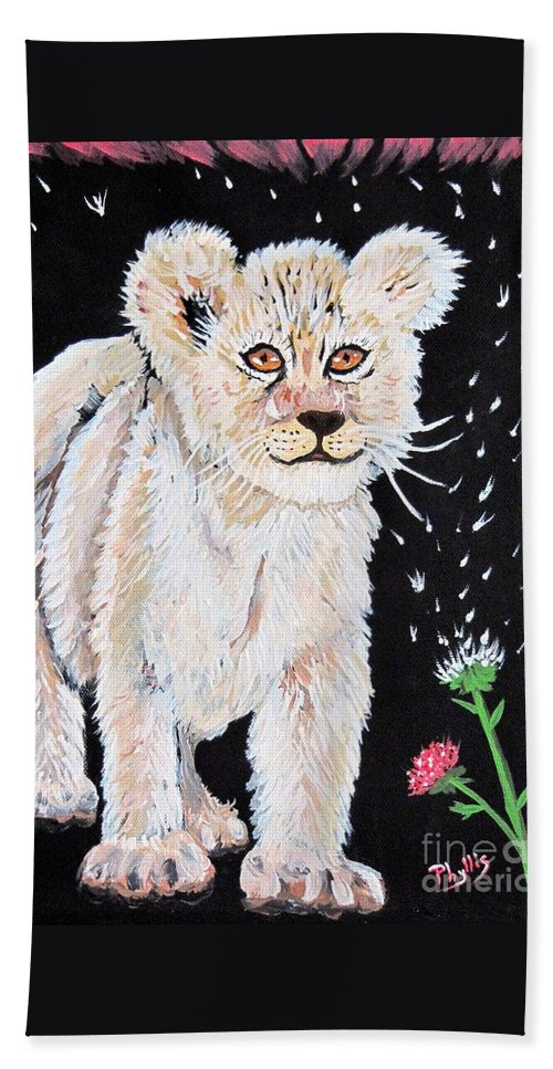 Lion Cub Bath Sheet featuring the painting Fluffy And Thistle by Phyllis Kaltenbach