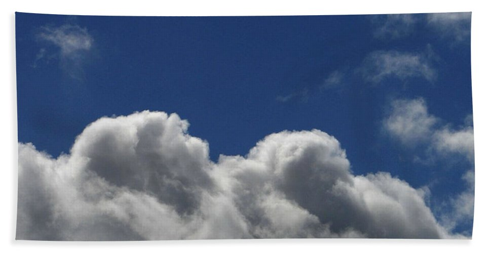 Clouds Bath Towel featuring the photograph Fluffy Clouds 1 by Carol Lynch