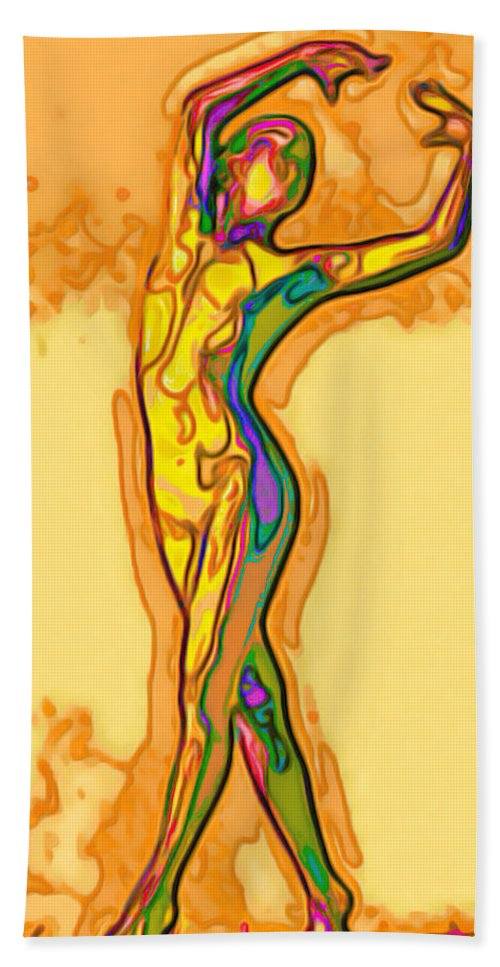 Vibrant Bath Sheet featuring the painting Fluid by Fli Art