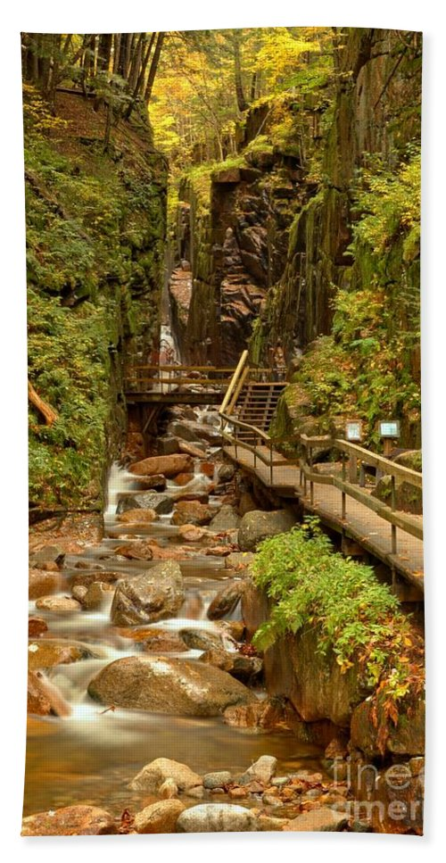 Flume Gorge Bath Sheet featuring the photograph Flume Gorge At Franconia Notch by Adam Jewell