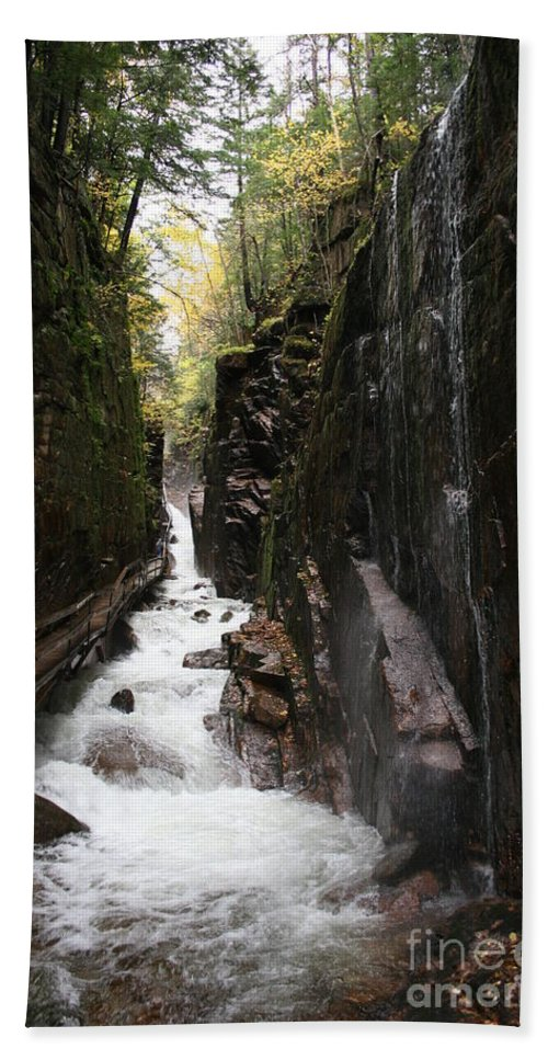 Franconia Notch Hand Towel featuring the photograph Flume Gorge Franconia Notch by Christiane Schulze Art And Photography
