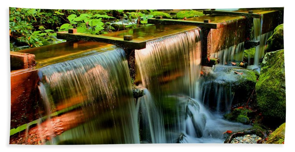 The Great Smoky Mountains National Park Bath Sheet featuring the photograph Flume Overflow by Carol Montoya