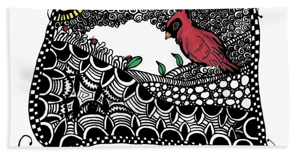 Cardinal Bath Sheet featuring the painting Fly Away Home by Terry Fleckney