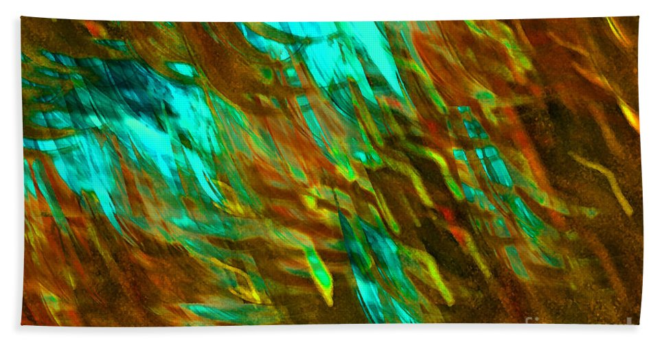 Abstract Bath Sheet featuring the digital art Fly Aways II by Debbie Portwood