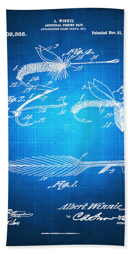 Artificial Fishing Bait Bath Sheet featuring the mixed media Fly Fishing Bait Patent Blueprint Drawing by Tony Rubino