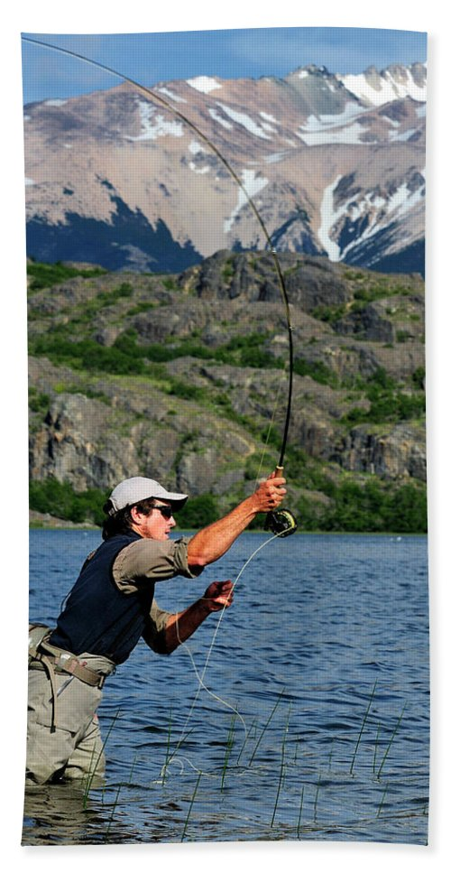 Activity Hand Towel featuring the photograph Fly Fishing In Patagonia by Beck Photography