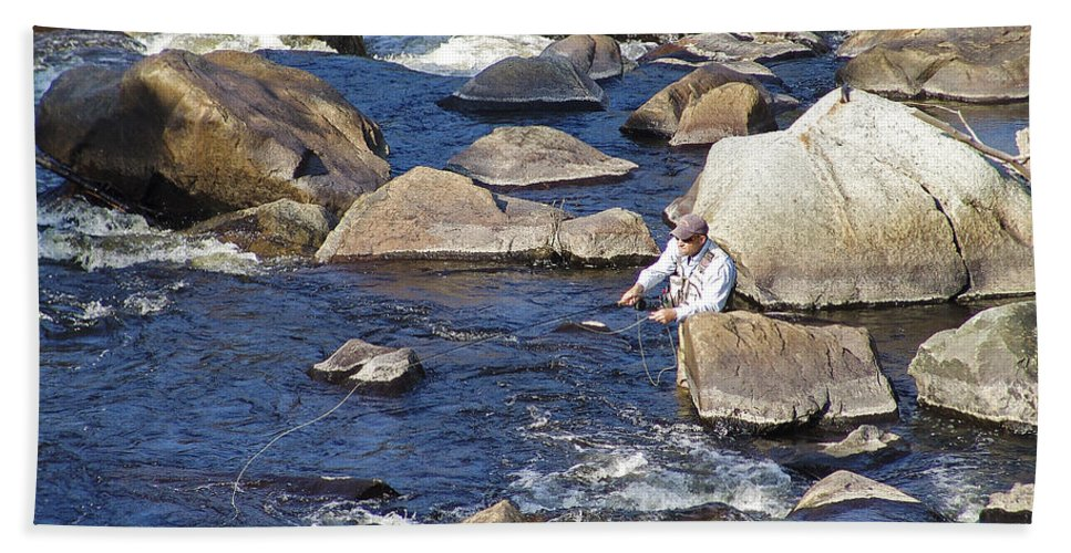 Fly Fishing Hand Towel featuring the photograph Fly Fishing On Mountain River by Eric Swan