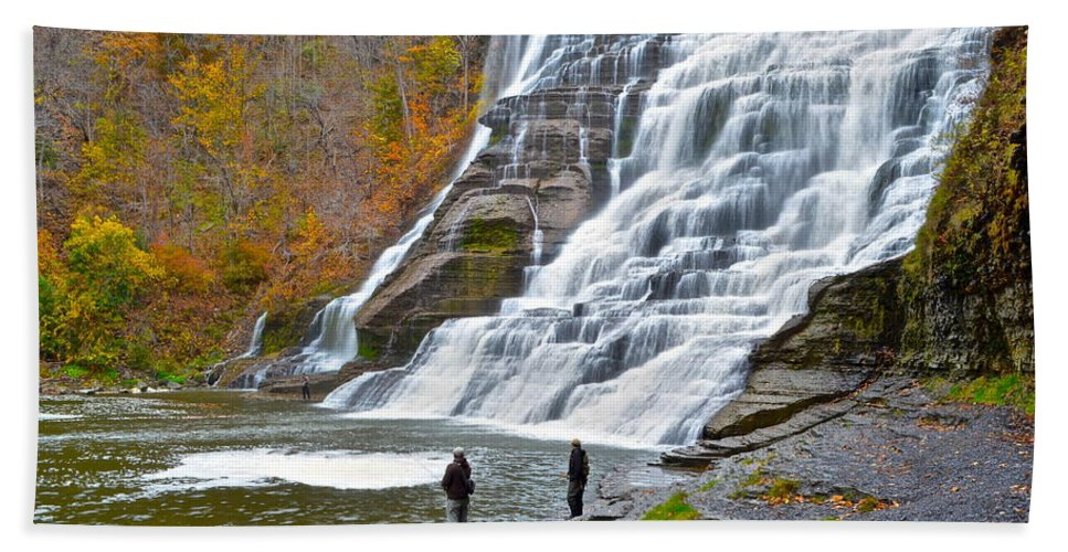 Salmon Bath Sheet featuring the photograph Fly Fishing by Frozen in Time Fine Art Photography
