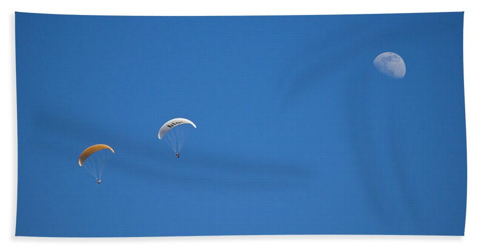Parachute Hand Towel featuring the photograph Fly Me To The Moon by Genaro Rojas