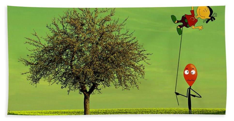 Balloon Hand Towel featuring the photograph Flying A Balloon In A Parallel Universe by David Dehner