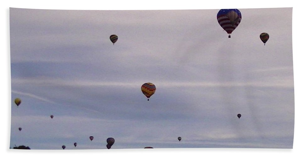 Balloons Hand Towel featuring the photograph Flying Balloons by Lee Hartsell