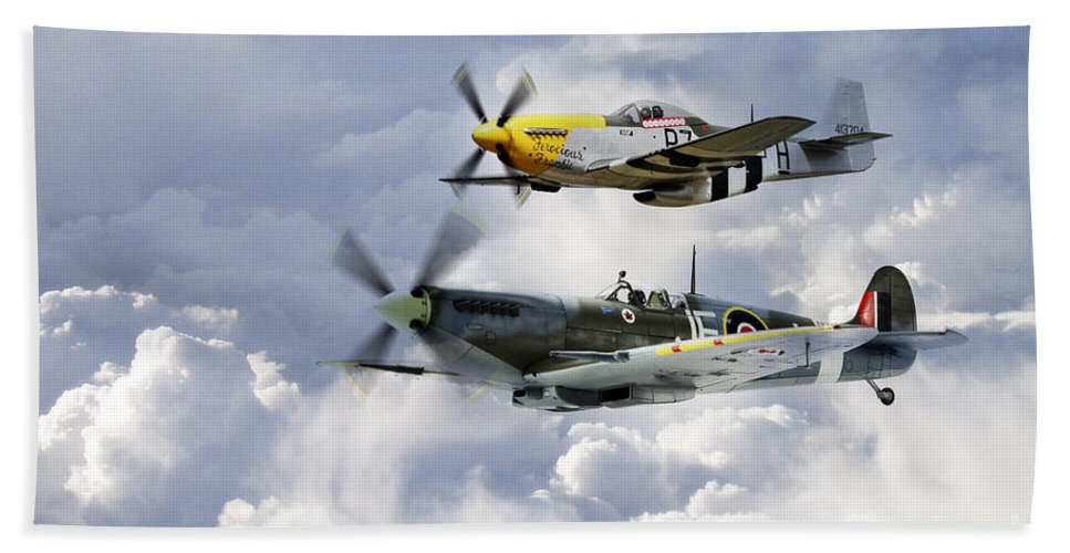 Supermarine Spitfire Hand Towel featuring the digital art Flying Brothers by J Biggadike