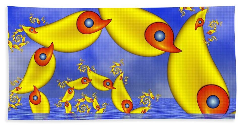 Childsroom Hand Towel featuring the digital art Jumping Fantasy Animals by Gabiw Art