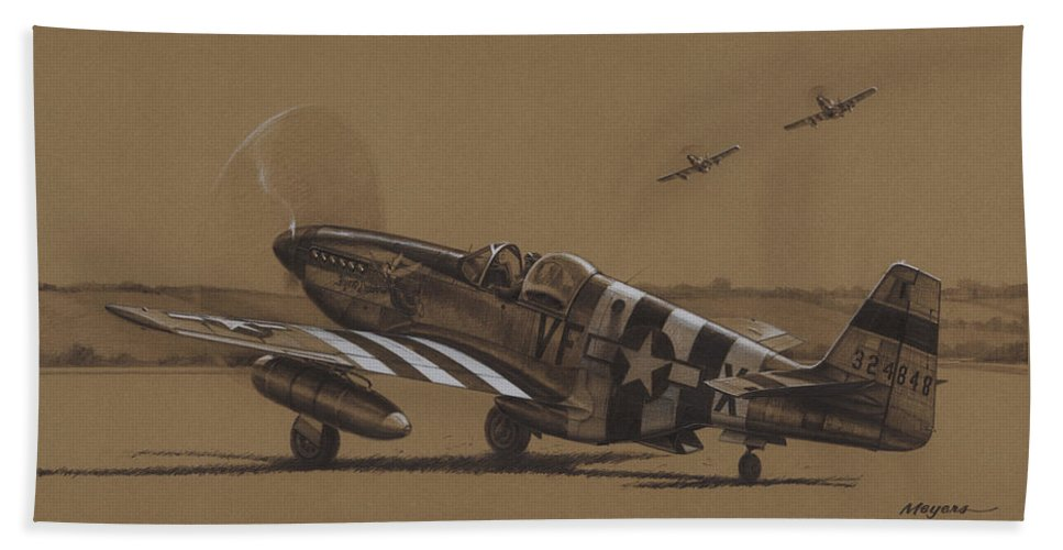 P-51 Mustang Bath Towel featuring the drawing Flying Dutchman by Wade Meyers