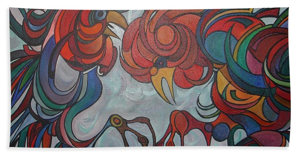 Roosters Bath Sheet featuring the painting Flying Feathers by Taiche Acrylic Art