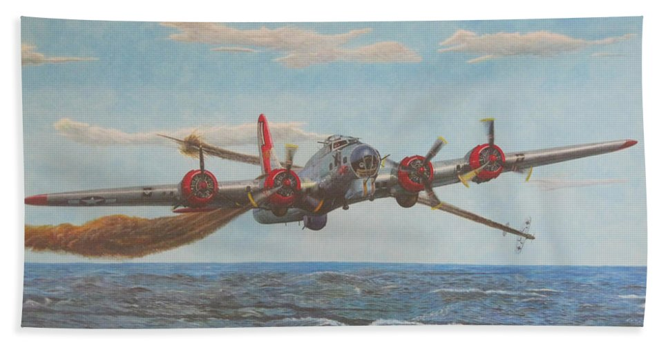 Boeing Bath Sheet featuring the painting Coming Home - Boeing B-17 Flying Fortress by Martin Hall